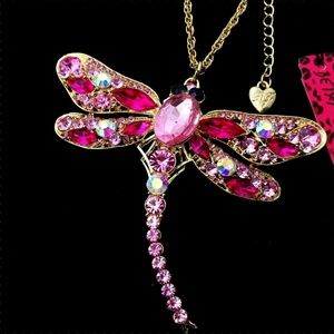 Betsey Johnson Crystal Dragonfly Pendant Necklace